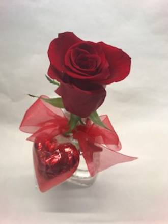 Rose in Vase with Chocolate Heart
