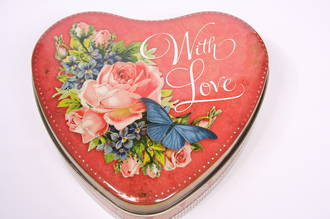 "Flowers and Butterfly"" With Love"" Tin"